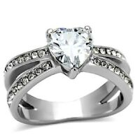 Women's Stainless Steel CZ Heart Ring Size 5-10 Engagement Ring Band Wedding 851