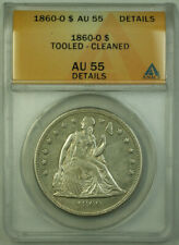1860-O Seated Liberty Silver Dollar $1 Coin ANACS AU-55 Details RJS