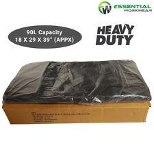 200 X HEAVY DUTY Black Bin Bags Dustbin Rubbish Liners 90 Liter Refuse Sacks