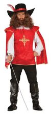 Mens Red Musketeer Historical Medieval Book Day Halloween Fancy Dress Costume