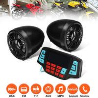 Motorcycle bluetooth Handlebar Audio System USB SD FM MP3 Radio Stereo Speaker