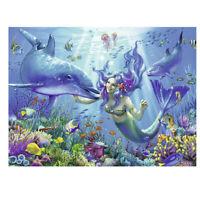5D Full Drill Diamond Painting Cross Stitch Kit Embroidery Mermaid Dolphin Decor
