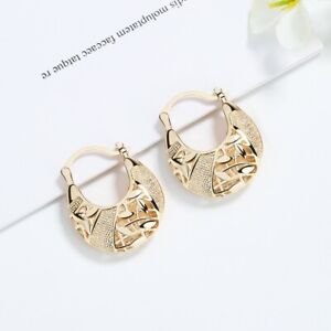 18k Layered real gold filled Round basket hoop earrings #42