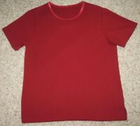 Unbranded Red Large Tee T-Shirt Top Crewneck Short Sleeve Cotton Polyester Woman