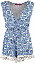 NEW LADIES WOMENS BOOHOO BLUE PRINT WRAP OVER TASSLE TRIM PLAYSUIT Sizes 8-16