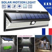 118LED Solaire Lampe Lumière PIR Détecteur de Mouvement Extérieur Jardin IP65 FR