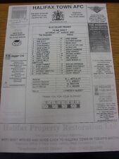 18/08/2007 Teamsheet: Halifax Town v Histon (folded). Bobfrankandelvis the selle