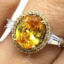 3 Ct Oval Yellow Citrine Halo Ring Women Wedding Jewelry 14K White Gold Plated
