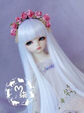 Bjd Doll Parrucca 1/4 7-8 SD MSD AOD DZ LUTS Dollfie white Toy Head Hair