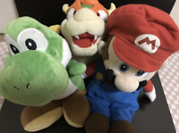 Super Mario Party 5 Mario Bowser Yoshi Plush SET Stuffed Hudson Soft 2003 Sanei
