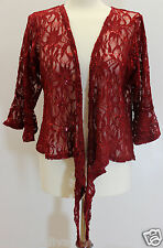 New Plus Size Womens Sequin Lace Tie Up Ladies Crochet Cardigan Party Top Shrug