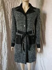 D&G black/white boucle tweed wool blend and corduroy belted coat size 30/44