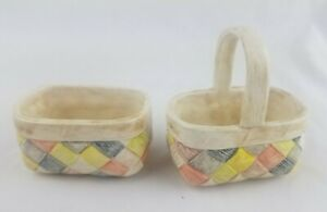Lot of 2 Ceramic Hand Made Baskets One with Handle Cute!