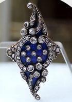3.10ct ROSE CUT DIAMOND BLUE ENAMEL VICTORIAN LOOK 925 SILVER COCKTAIL RING
