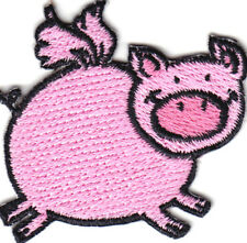 PINK PIG FLYING Iron On Patch Pigs Piggy Happy Smiling