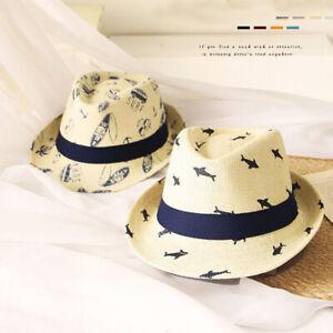 Kids Toddler Boys Whales Straw Panama Hat Fedora Jazz Sun Hat Summer Beach Cap