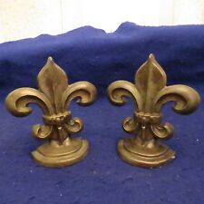 """Vintage 7""""  Brass Metal Fleur de Lis Bookends Art Deco Imperial - SEE PICS"""
