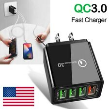 4 Ports Fast Quick Charge QC 3.0 USB Hub Wall Charger Cell Phone Power Adapter