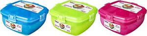 Sistema Salad to Go Container Klip It Food Lunch Box 37.1 oz - Colors Vary
