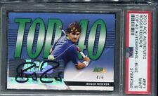 2013 Ace Authentic Roger Federer Top 40 Blue Auto #ed 4/5 PSA Mint 9