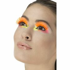 Neon Orange 80's Party Eyelashes Retro Kylie Womens Ladies Fancy Dress Accessory