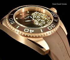 New Invicta Angel 39MM Quartz Rose Gold Tone & Brown Silicone Strap Watch