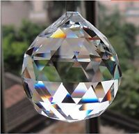 Clear Crystal Hanging Faceted Ball Prism, 30mm, 1 Piece