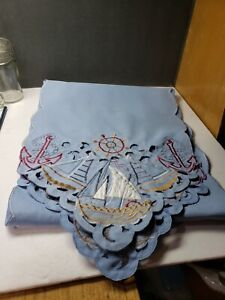 SUPER VINTAGE HAND STITCHED NAUTICAL THEME TABLE RUNNER