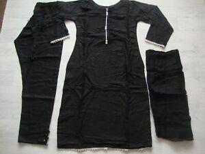 Linen Black Stitched salwar kameez £25..heavy linen with bumber chiffon dupatta