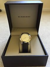 MENS AUTHENTIC BURBERRY BROWN LEATHER CHRONOGRAPH WATCH #BU1777 Lifetime Battery