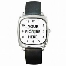 Leather Square Face Watch Custom Personalized YOUR PICTURE PHOTO LOGO