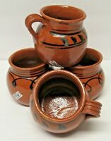 Tlaquepaque Mexican Redware Clay Mugs or Cups Set of 4 12 oz