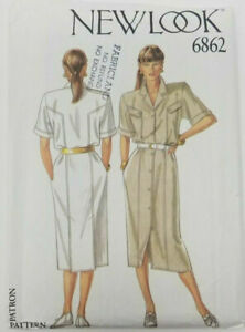 New Look 6862 Safari Chic Shirt Dress Pattern Size 8 to 18 UNCUT