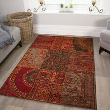 Warm Terracotta Orange Checked Patchwork Rugs Soft Home Decor Area Rug Cheap