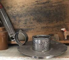 Primitive Punched Tin Candle Holder Star Design