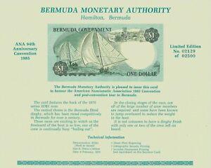 Bermuda Ana 94Th Anniv Convention Carte 1985 Gem UNC ~ Rare ~ Monétaire