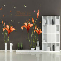 Simplicity Lily Flowers Wall Sticker Wall Stickers Home Decor Bedroom Room &