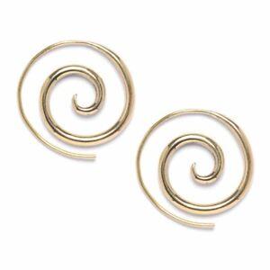 81stgeneration Brass Gold Tone 16 Gauge Spiral Earrings