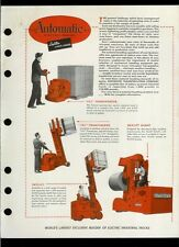 Super Rare Automatic Skylift Forklift Electric Truck Brochure Plus Bonus Pages