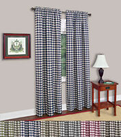 "Buffalo Check Gingham Window Panel Single - 42"" x 84"" Assorted Colors"