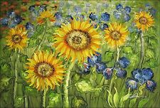Van Gogh Sunflower and Irises field Repro XI, Hand Painted Oil Painting, 24x36in