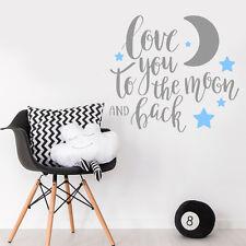Amo a la Luna y posterior cotización Bebé Niño Habitación Pared Adhesivo Calcomanía