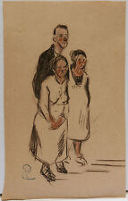 Dessin Original Aquarelle PAUL COUVREUR - La Famille - vers 1930 - PC58