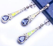 """Silver Pendant & Earring Set 1.25"""" Tanzanite Cz, & White Opal .925 Sterling"""