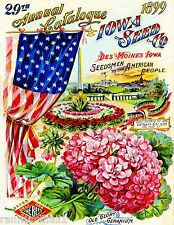 1899 - Iowa Seed Co. Vintage Flowers Seed Packet Catalogue Advertisement Poster
