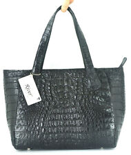 100% GENUINE CROCODILE LEATHER HANDBAG BAG TOTE HOBO BLACK RIVER NEW