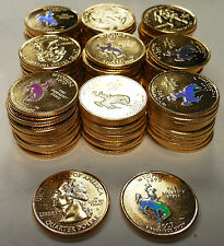 2007 WYOMING GOLD STATE QUARTERS W/ HOLOGRAM~100 PIECES~BUCKING HORSE & RIDER