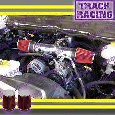 DUAL 2002 2003/02 03 JEEP LIBERTY 3.7L V6 TWIN AIR INTAKE KIT Black Red