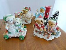 4 x Cherished Teddies Figurines - Christmas Themed - Astrid / Georgia etc