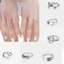 Punk Fashion Women's Turquoise Arrow Moon Knuckle Joint Midi Rings Set Jewelry